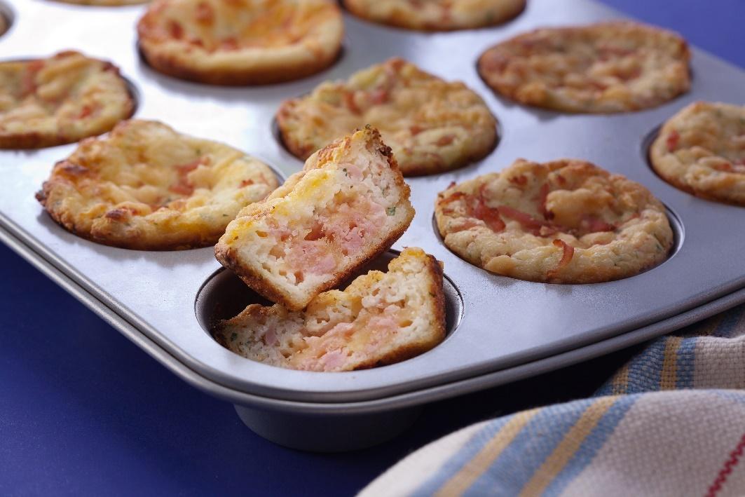 A mais deliciosa receita de muffins de arroz com presunto e queijo, reaproveitando as sobras